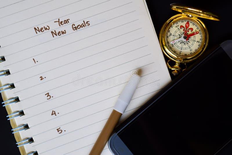 Nouvelle année - les nouveaux buts textotent sur le carnet photo libre de droits