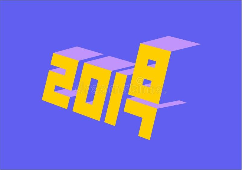 Nouvelle année lumineuse et colorée 2018 image libre de droits