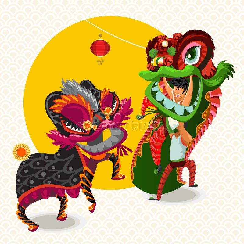 Nouvelle année lunaire chinoise Lion Dance Fight illustration libre de droits