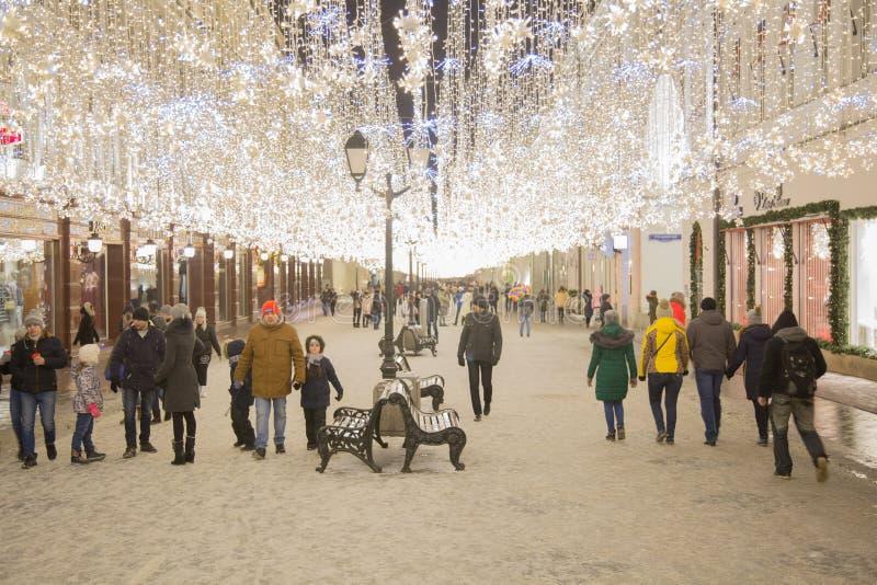 Nouvelle année Moscou Rue de Nikolskaya photo stock