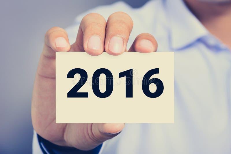 Download Nouvelle Annee Numero 2016 Sur La Carte De Visite Professionnelle Image Stock