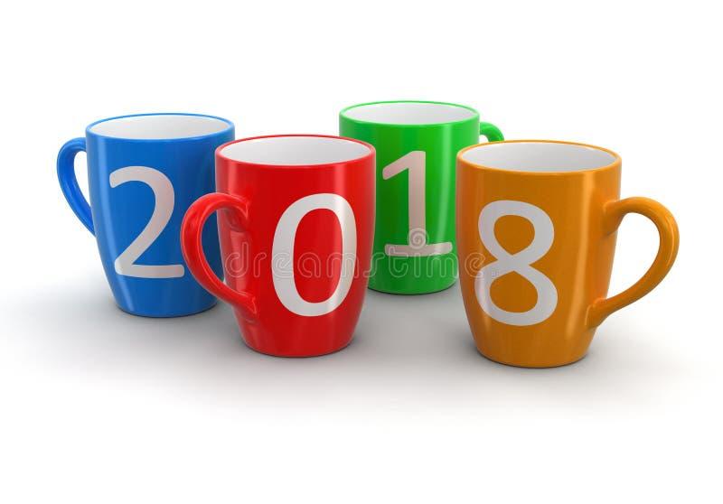 Nouvelle année 2018 sur des tasses de couleur illustration libre de droits