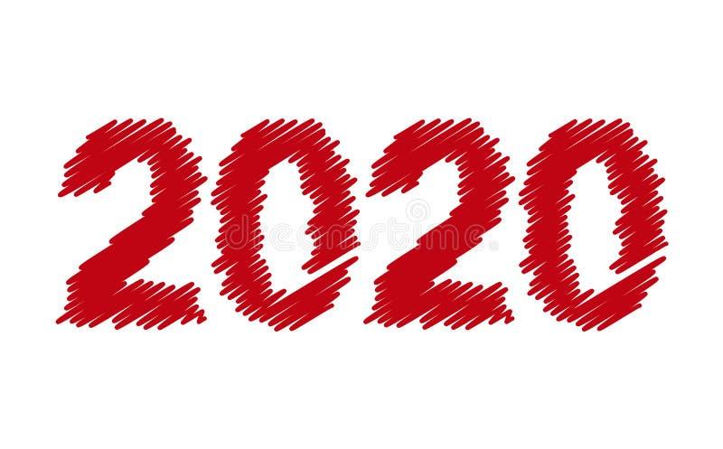 Nouvelle ann?e 2020 conception simple de nouvelle année illustration de vecteur