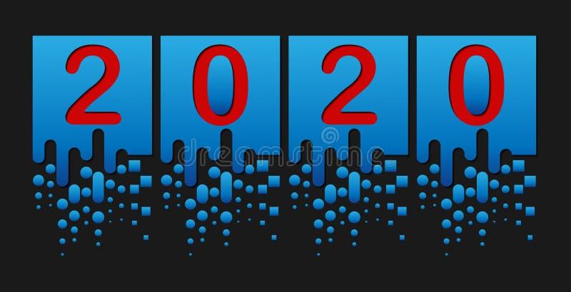 Nouvelle ann?e 2020 Des figures sont coup?es dans les places illustration libre de droits