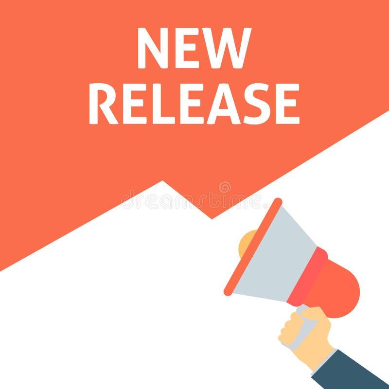 NOUVELLE annonce de LIBÉRATION Main tenant le mégaphone avec la bulle de la parole illustration stock