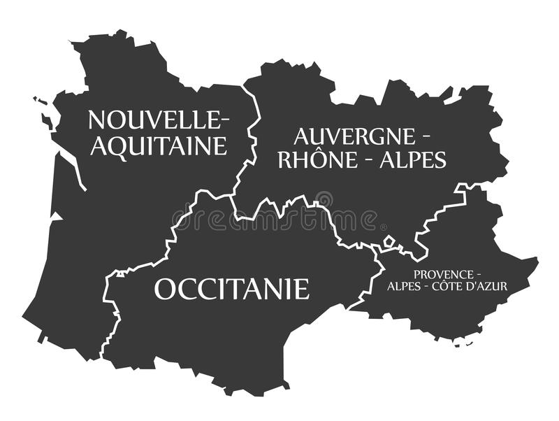 Nouvelle Aquitaine Occitanie Auvergne Provence Map France