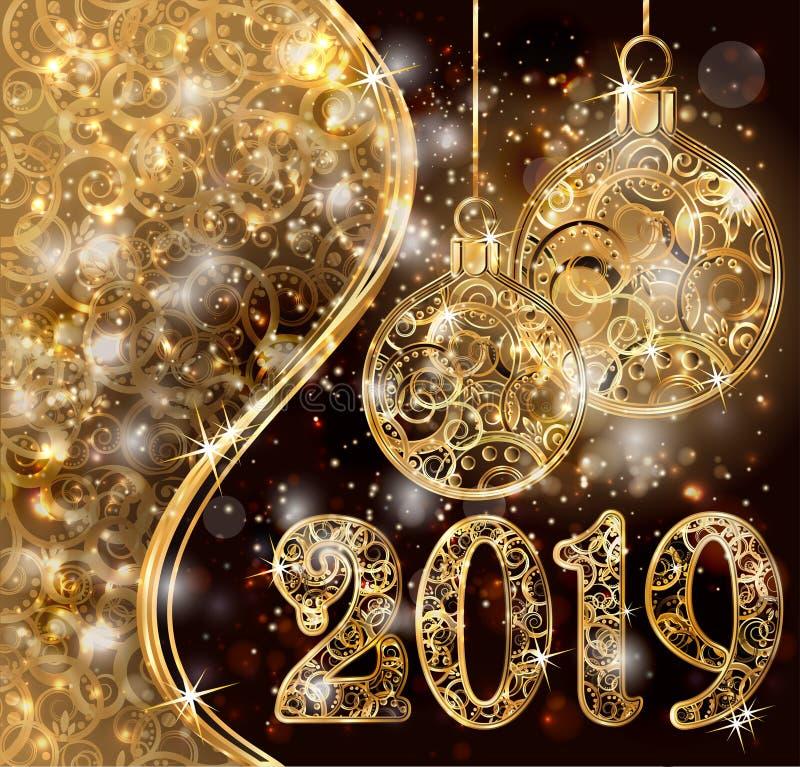 Nouvelle bannière d'or de 2019 ans avec des boules de Noël, vecteur illustration libre de droits
