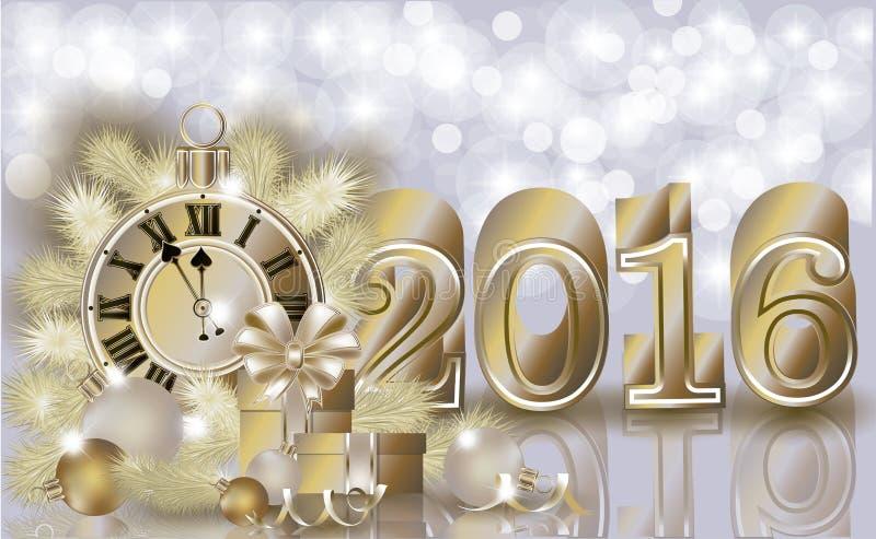 Nouvelle bannière d'or heureuse de 2016 ans illustration de vecteur