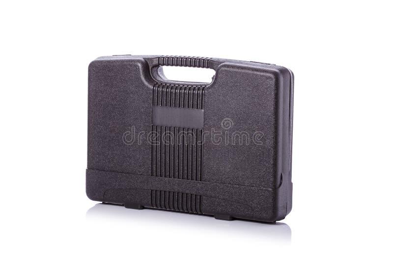Nouvelle boîte à outils noire carrée Projectile de studio d'isolement sur le blanc photos stock