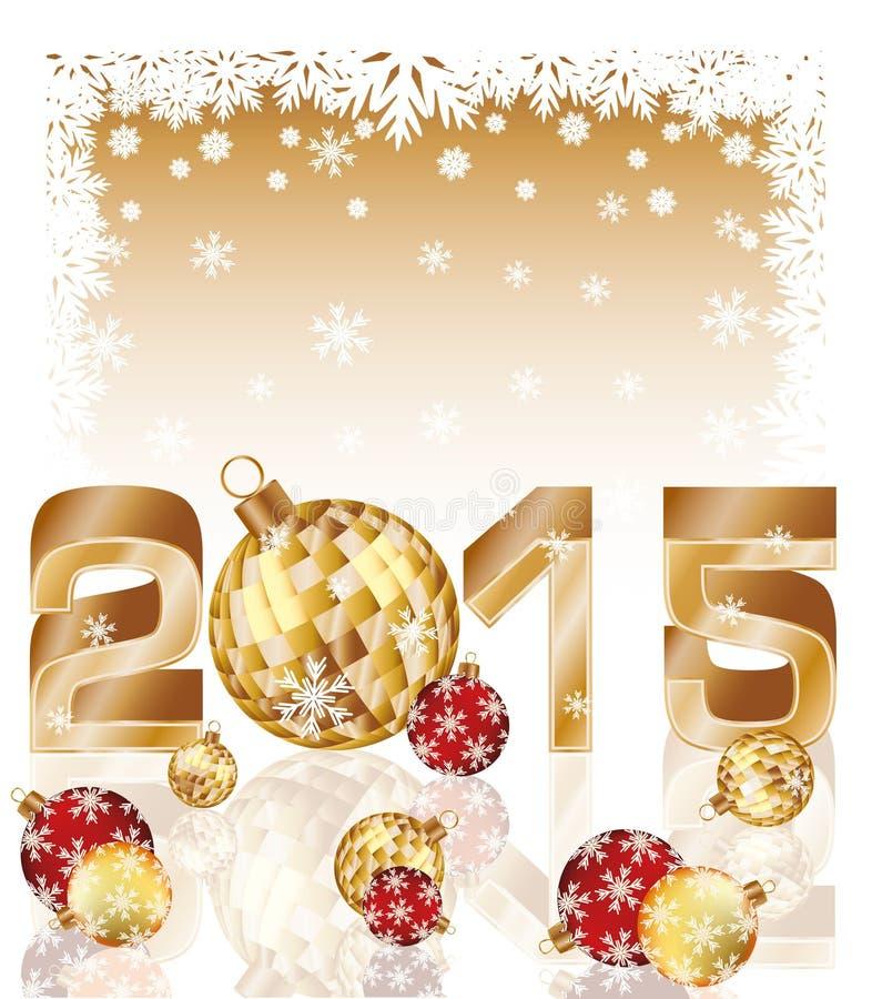 Nouvelle carte heureuse de 2015 ans avec des boules de Noël illustration stock