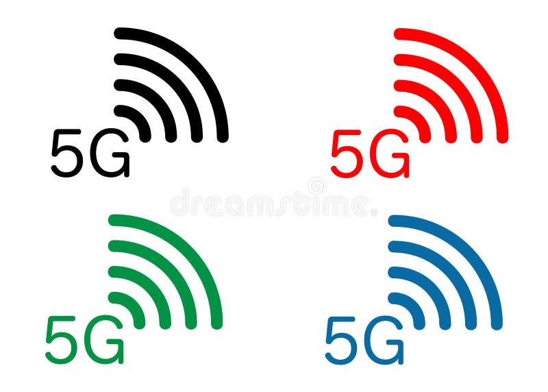 nouvelle connexion sans fil de wifi de l'Internet 5G - l'icône mobile réglée de réseau de nouvelle génération des icônes 5 g, dir illustration de vecteur