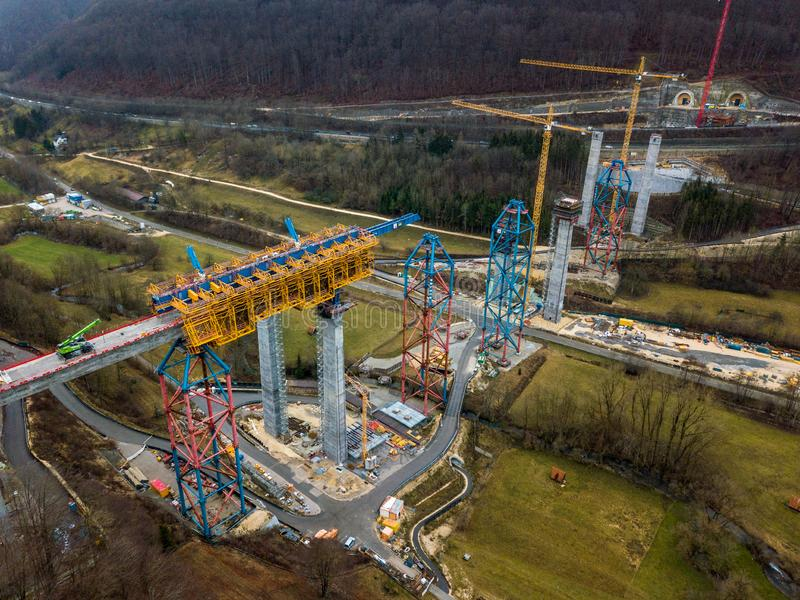 Nouvelle construction de pont de chemin de fer - Stuttgart 21, Aichelberg photo stock
