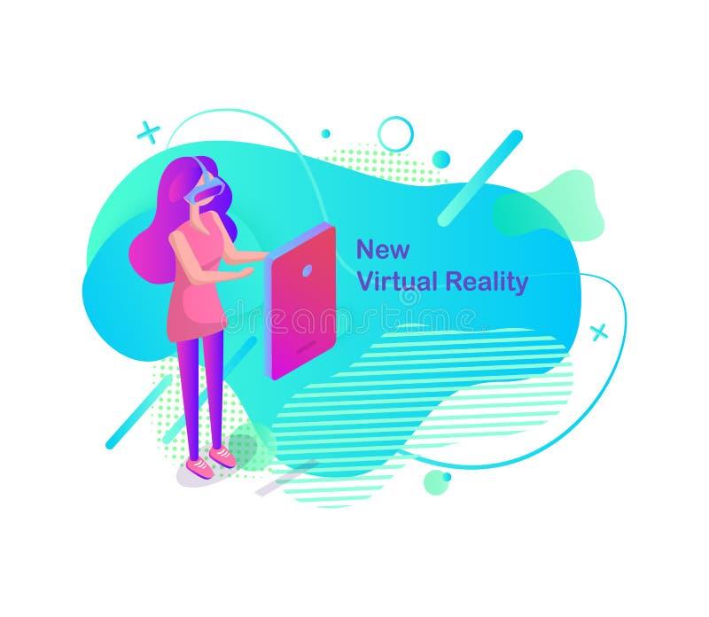 Nouvelle femme de réalité virtuelle portant le vecteur en verre de VR illustration libre de droits