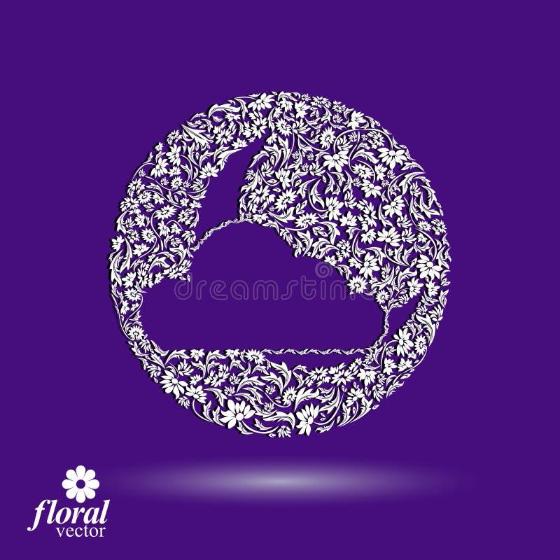 Nouvelle lune derrière une belle illustration d'art de nuage, lulla floral illustration stock