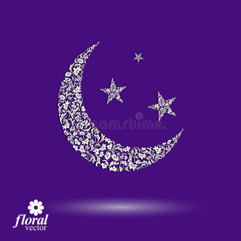 Nouvelle lune placée sur une belle illustration de vecteur d'art de ciel étoilé illustration de vecteur