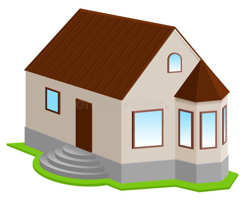 Nouvelle maison 3d privée avec la fenêtre en saillie illustration stock