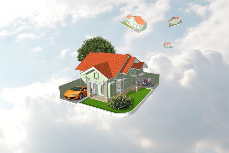 Nouvelle maison de famille avec la conception de paysage et nuages à l'arrière-plan illustration stock