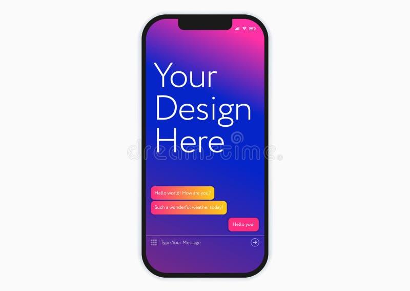 Nouvelle maquette noire de téléphone portable de smartphone - calibre parfait pour illustration stock