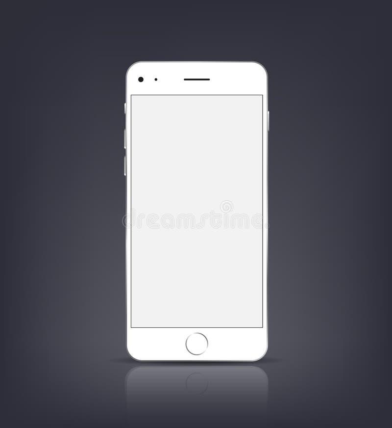 Nouvelle maquette réaliste de smartphone avec l'écran vide d'isolement Illustration de vecteur pour l'élément impression et de We illustration de vecteur