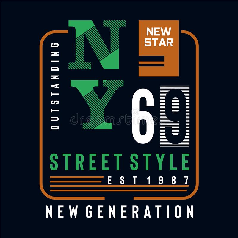 Nouvelle pièce en t de conception de typographie de style de rue d'étoile pour le T-shirt illustration libre de droits