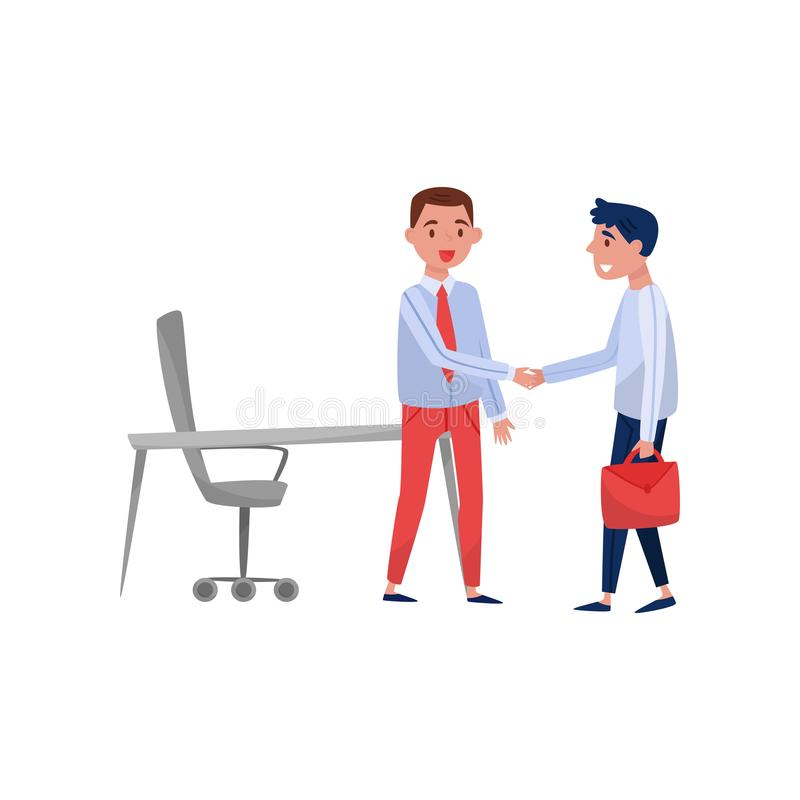 Nouvelle réunion masculine de demandeur et de patron des employés à son bureau, illustration de vecteur de concept de recrutement illustration stock