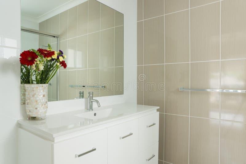 Nouvelle salle de bains carrelée d'ensuite image libre de droits