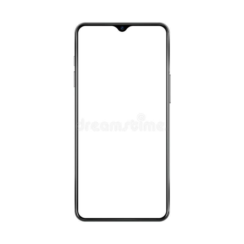 Nouvelle version de smartphone mince noir de cadre avec la petite caméra de visage et l'écran blanc vide Illustration réaliste de illustration de vecteur