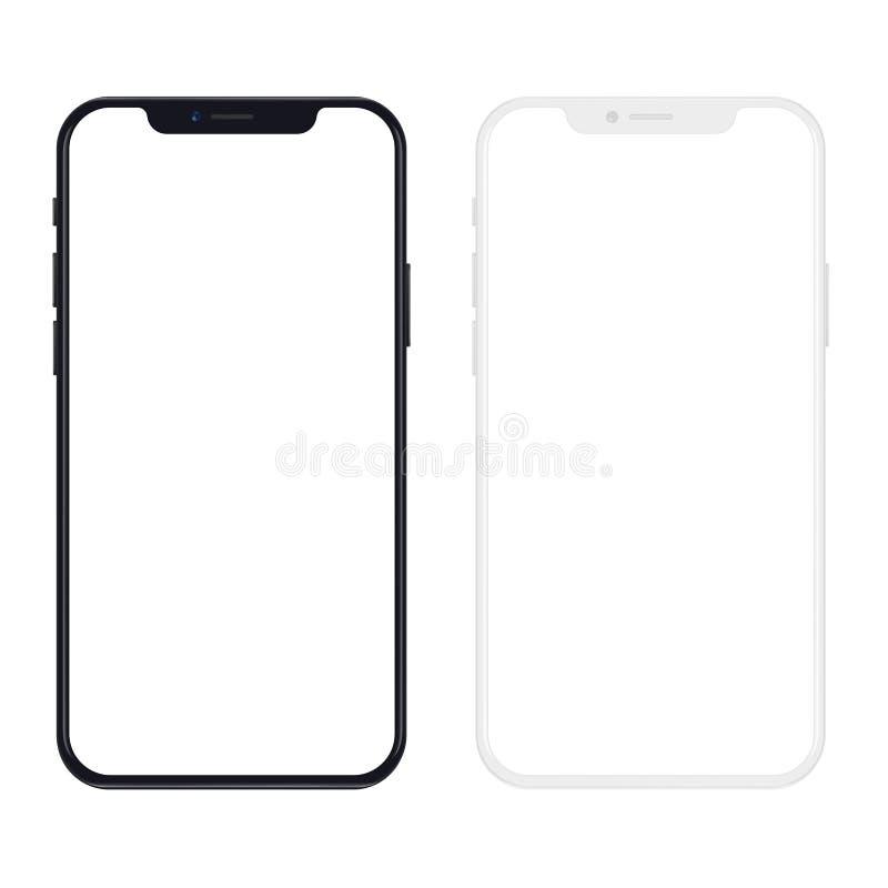 Nouvelle version de smartphone mince noir et blanc avec l'écran blanc vide Illustration réaliste de vecteur illustration stock