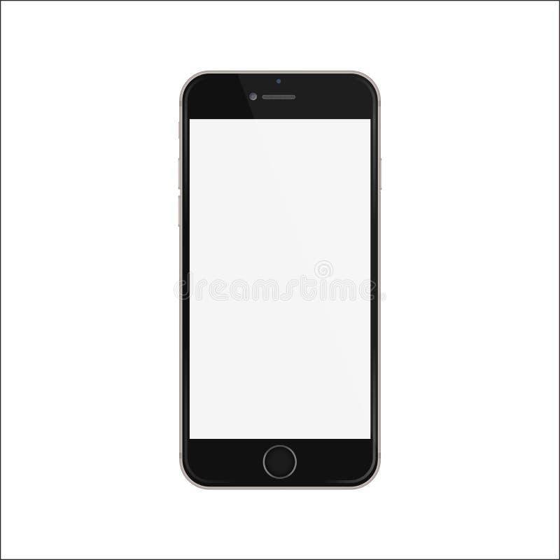 Nouvelle version de style mince noir d'iphon de smartphone avec l'écran blanc vide illustration stock