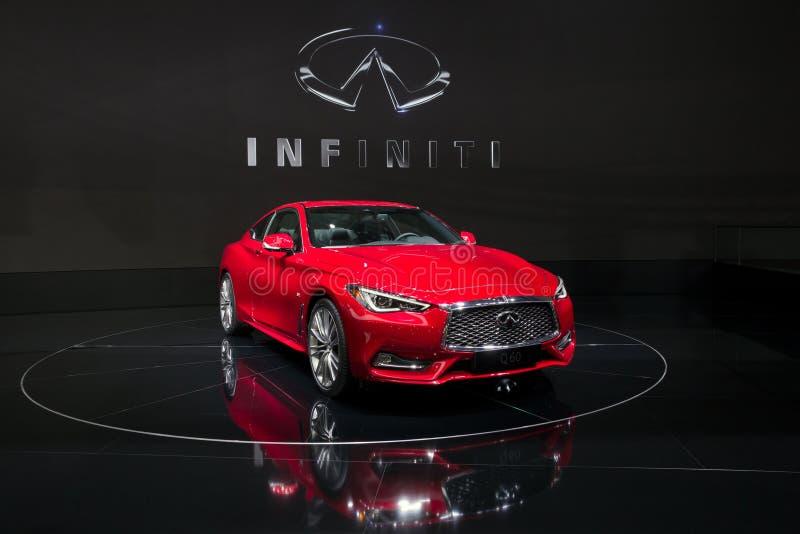 Nouvelle voiture de coupé d'Infiniti Q60 photographie stock