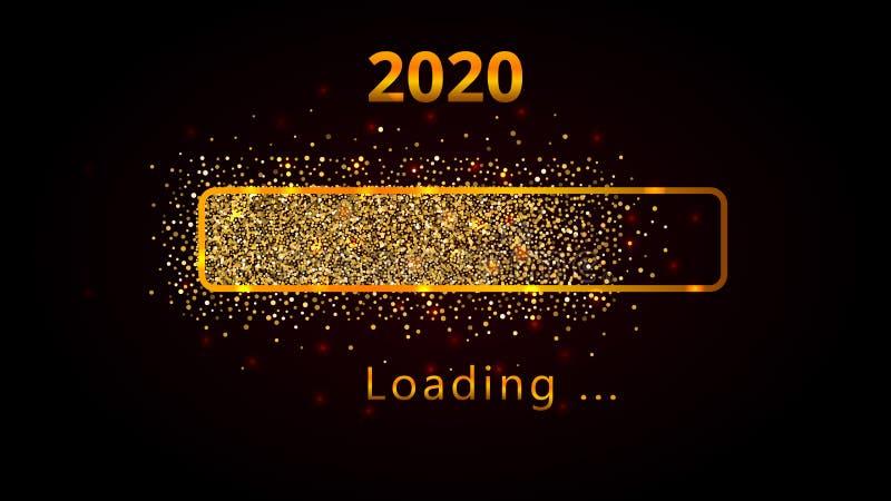 2020 nouvelles années avec la barre de chargement brillante lumineuse de progrès, le scintillement d'or et les étincelles Concept illustration de vecteur