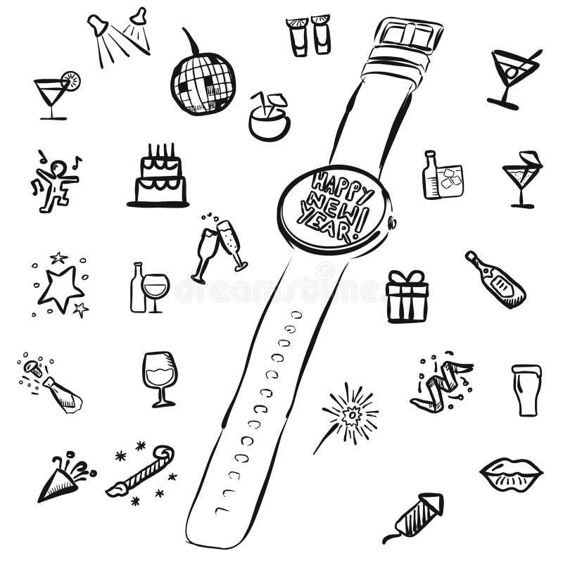 Nouvelles années d'Eve Doodles avec la montre illustration libre de droits