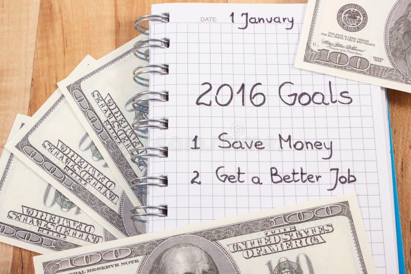 Nouvelles années de résolutions écrites en le carnet et le dollar de devises images stock