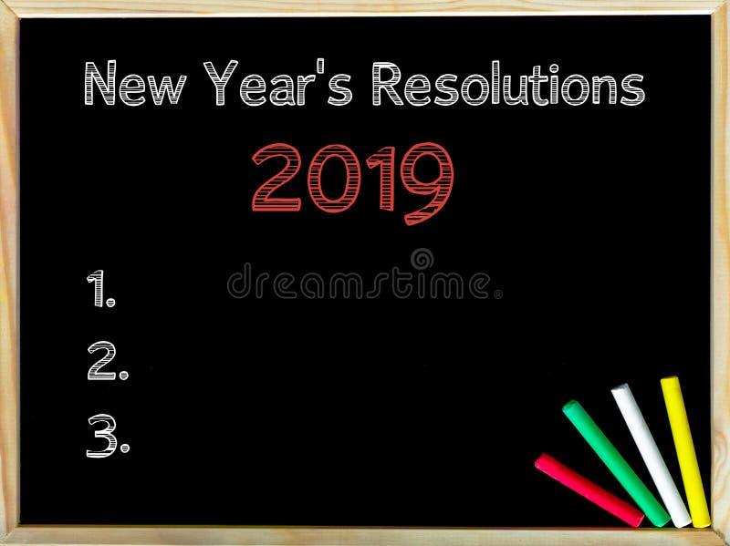 Nouvelles années de résolutions 2019 image libre de droits
