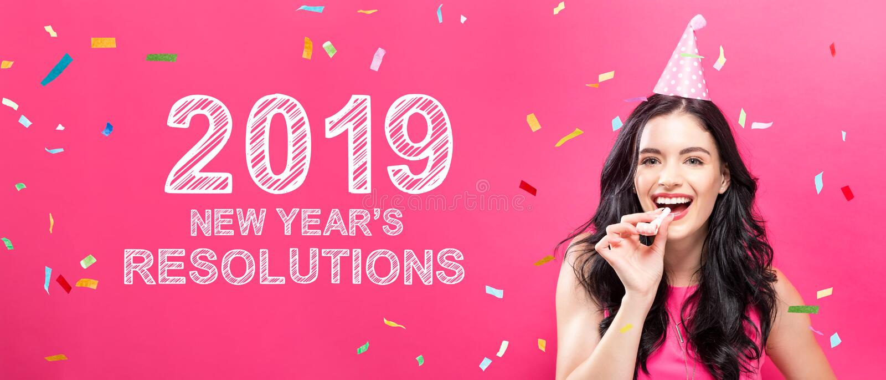 2019 nouvelles années de résolutions avec la jeune femme avec le thème de partie photos libres de droits