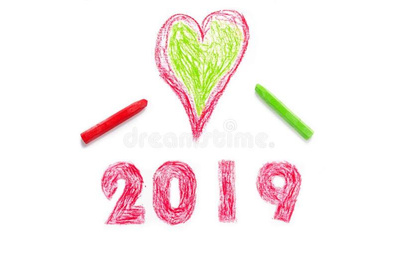 2019 nouvelles années et peinture de main de coeur illustration de vecteur