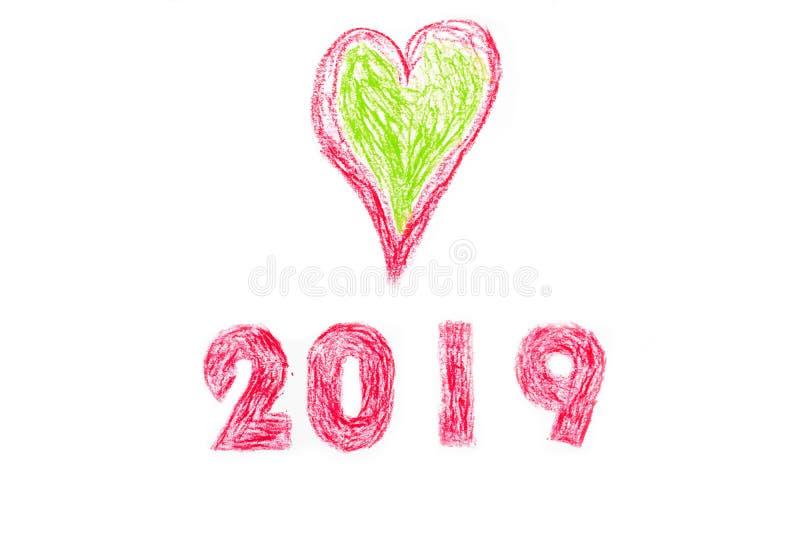 2019 nouvelles années et peinture de main de coeur illustration stock