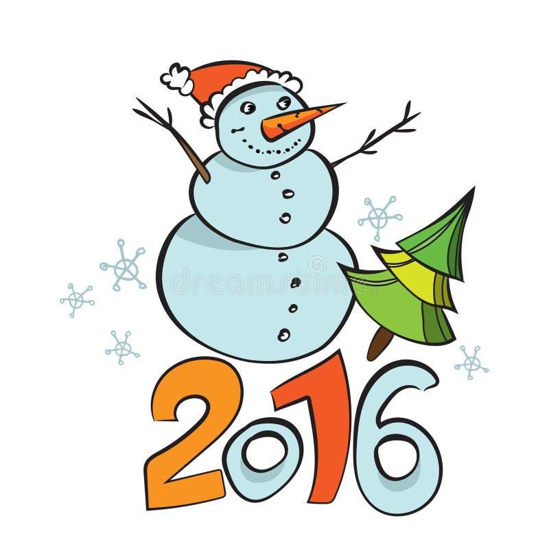 2016 nouvelles années heureuse Carte postale de bande dessinée illustrée par vecteur Calibre d'affiche d'hiver Fond de Noël illustration stock