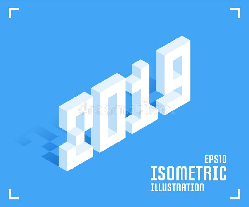2019 nouvelles années Illustration de vecteur dans le style 3D isométrique plat illustration stock