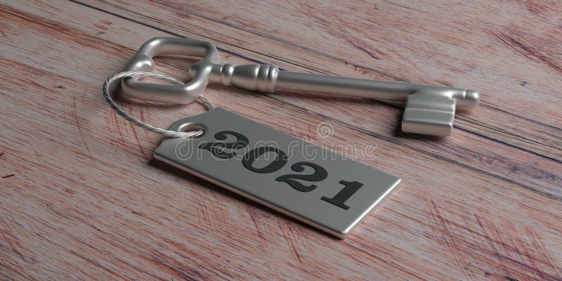 2021 nouvelles années, marquent 2021 sur la clé de porte contre le bois illustration 3D illustration libre de droits