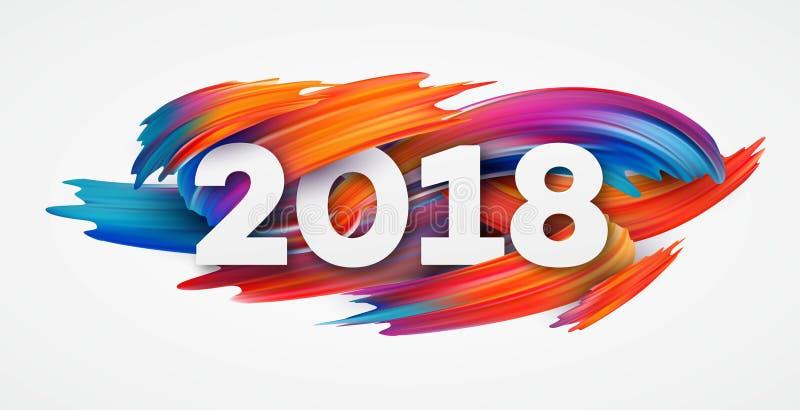 2018 nouvelles années sur le fond d'un élément de conception de pétrole coloré de traçage ou de peinture acrylique pour des prése illustration stock