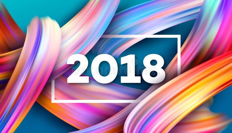 2018 nouvelles années sur le fond d'un traçage coloré illustration stock