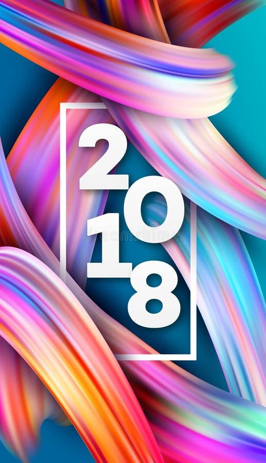 2018 nouvelles années sur le fond d'un traçage coloré illustration de vecteur