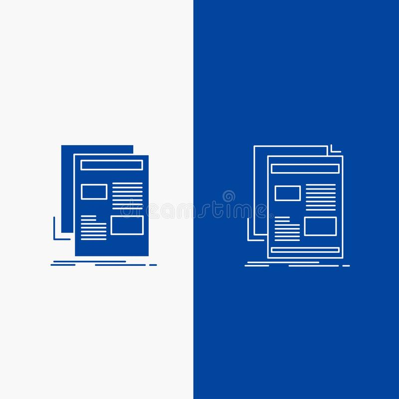 nouvelles, bulletin d'information, journal, médias, bouton de Web de ligne de papier et de Glyph dans la bannière verticale de co illustration stock