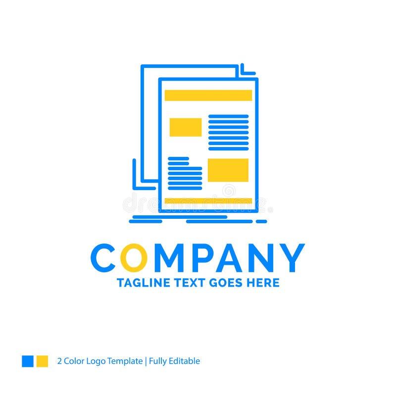 nouvelles, bulletin d'information, journal, milieu, affaires jaunes bleues L de papier illustration libre de droits