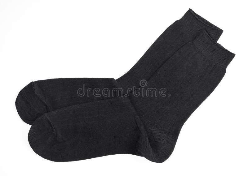 Nouvelles chaussettes noires, isolat image stock