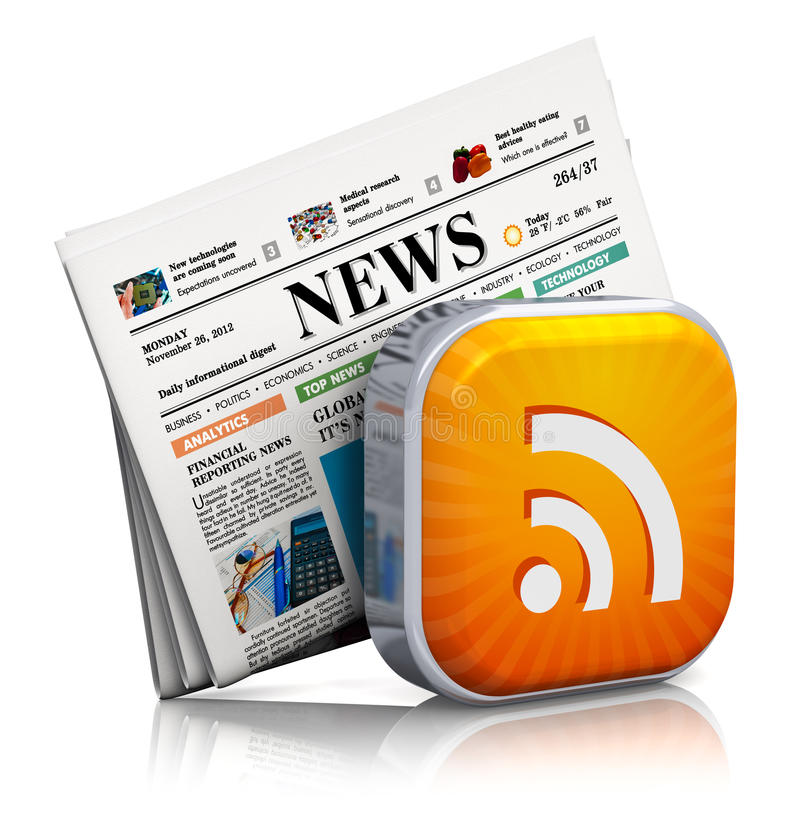 Nouvelles d'Internet et concept de RSS illustration stock
