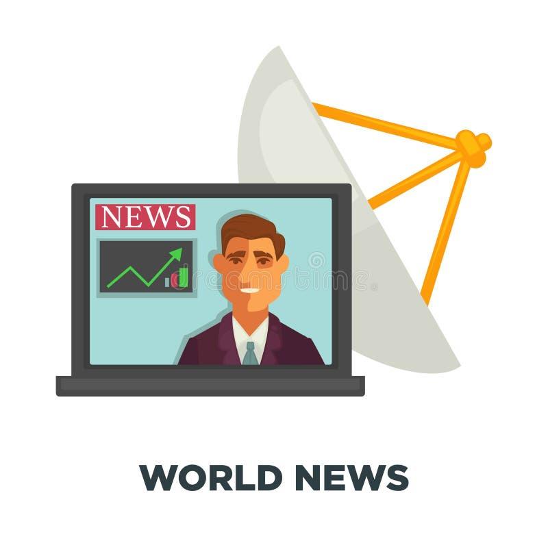 Nouvelles du monde dans l'ordinateur portable ouvert et l'antenne parabolique illustration libre de droits