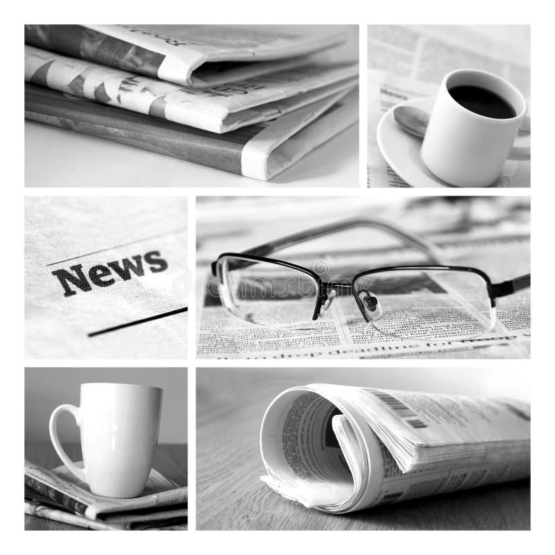 Nouvelles et collage de journaux photographie stock