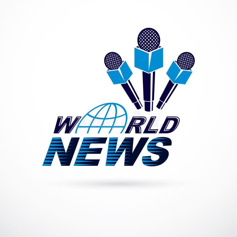 Nouvelles et faits rapportant le logo de vecteur compos? utilisant l'inscription de nouvelles du monde illustration de vecteur